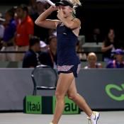 Daria Gavrilova celebrates her second round victory over Maria Sharapova at the Miami Open; Getty Images
