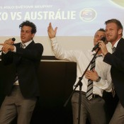 (L-R) Alex Bolt, Lleyton Hewitt and Sam Groth enjoy some karaoke at the official team dinner for the Davis Cup World Group tie between Australia and Czech Republic; Pavel Lebeda