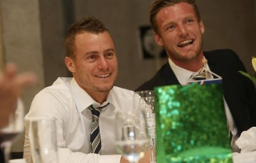 Lleyton Hewitt (L) and Sam Groth at the official team dinner for the Davis Cup World Group tie between Australia and Czech Republic; Pavel Lebeda
