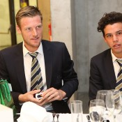 Sam Groth (L) and Alex Bolt at the official team dinner for the Davis Cup World Group tie between Australia and Czech Republic; Pavel Lebeda