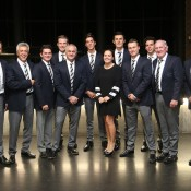The Australian Davis Cup team at the official team dinner for the Davis Cup World Group tie between Australia and Czech Republic; Pavel Lebeda