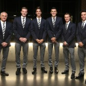 (L-R) Wally Masur, Sam Groth, Thanasi Kokkinakis, Bernard Tomic, Lleyton Hewitt and Alex Bolt at the official team dinner for the Davis Cup World Group tie between Australia and Czech Republic; Pavel Lebeda