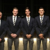 (L-R) Wally Masur, Sam Groth, Thanasi Kokkinakis, Bernard Tomic and Lleyton Hewitt at the official team dinner for the Davis Cup World Group tie between Australia and Czech Republic; Pavel Lebeda