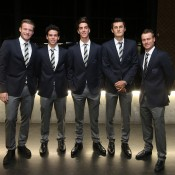 (L-R) Sam Groth, Alex Bolt, Thanasi Kokkinakis, Bernard Tomic and Lleyton Hewitt at the official team dinner for the Davis Cup World Group tie between Australia and Czech Republic; Pavel Lebeda