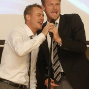Lleyton Hewitt (L) and Sam Groth enjoy some karaoke at the official team dinner for the Davis Cup World Group tie between Australia and Czech Republic; Pavel Lebeda