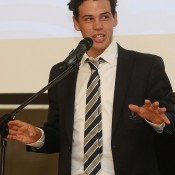 Alex Bolt speaks at the official team dinner for the Davis Cup World Group tie between Australia and Czech Republic; Pavel Lebeda