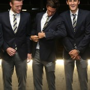 (L-R) Sam Groth, Thanasi Kokkinakis and Bernard Tomic prepare for photos at the official team dinner for the Davis Cup World Group tie between Australia and Czech Republic; Pavel Lebeda