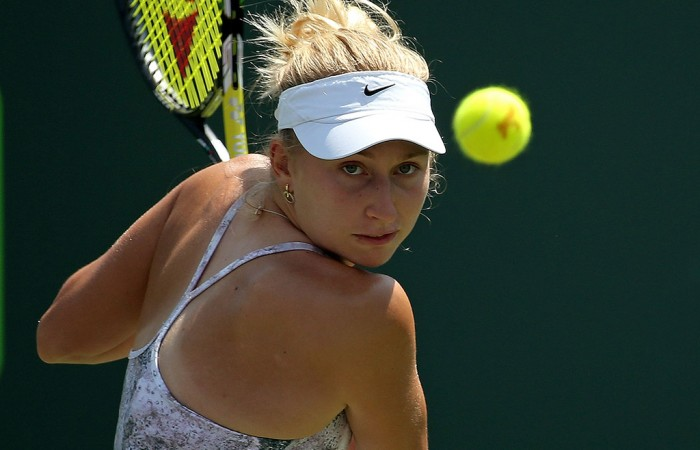 Daria Gavrilova in action during her first round victory at the Miami Open; Getty Images