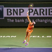 Sam Stosur in action during her second-round win over American Taylor Townsend at the BNP Paribas Open at Indian Wells; Getty Images