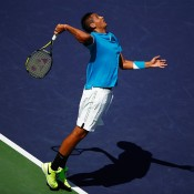 Nick Kyrgios in action during his second-round loss to No.11 seed Grigor Dimitrov at the BNP Paribas Open at Indian Wells; Getty Images