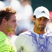 James Duckworth (L) at net following his second-round loss to No.28 seed Fernando Verdasco (R) at the BNP Paribas Open at Indian Wells; Getty Images