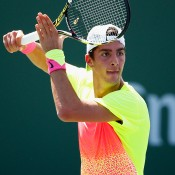Thanasi Kokkinakis in action during his second-round win over No.23 seed Guillermo Garcia-Lopez at the BNP Paribas Open at Indian Wells; Getty Images