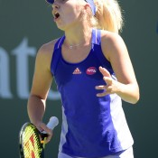 Daria Gavrilova in action during her second-round loss to No.3 seed Simona Halep at the BNP Paribas Open at Indian Wells; Getty Images
