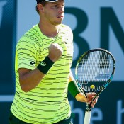James Duckworth in action during his first-round victory over Austria's Dominic Thiem at the BNP Paribas Open at Indian Wells; Getty Images