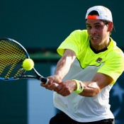 Alex Bolt in action during his qualifying victory over Japan's Go Soeda at the BNP Paribas Open at Indian Wells; Getty Images
