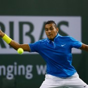 Nick Kyrgios in action during his first-round win over American Denis Kudla at the BNP Paribas Open at Indian Wells; Getty Images