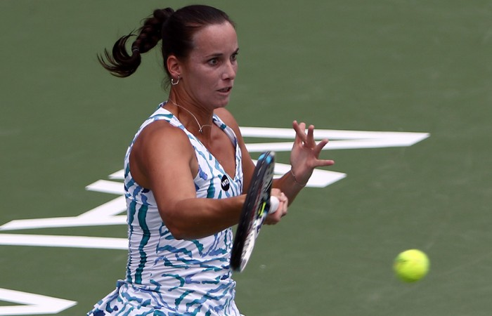 Jarmila Gajdosova in action during her first round victory at the WTA Malaysian Open in Kuala Lumpur; Getty Images