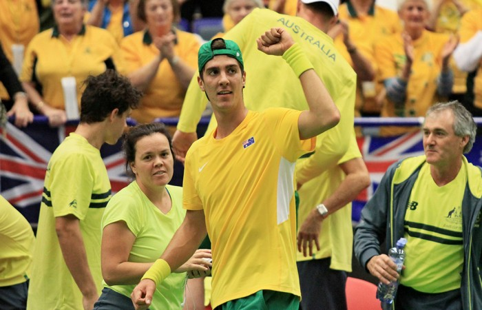 Thanasi Kokkinakis celebrates victory in the opening rubber of Australia's Davis Cup 2015 World Group first round tie against Czech Republic in Ostrava; RADEK MICA/AFP/Getty Images