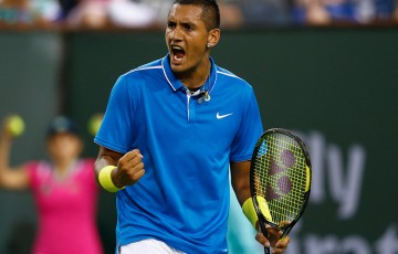 Nick Kyrgios celebrates a point en route to victory over Denis Kudla in the first round of the BNP Paribas Open at Indian Wells; Getty Images