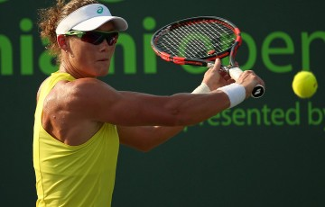 Sam Stosur in action during her second-round victory over Pauline Parmentier at the Miami Open; Getty Images