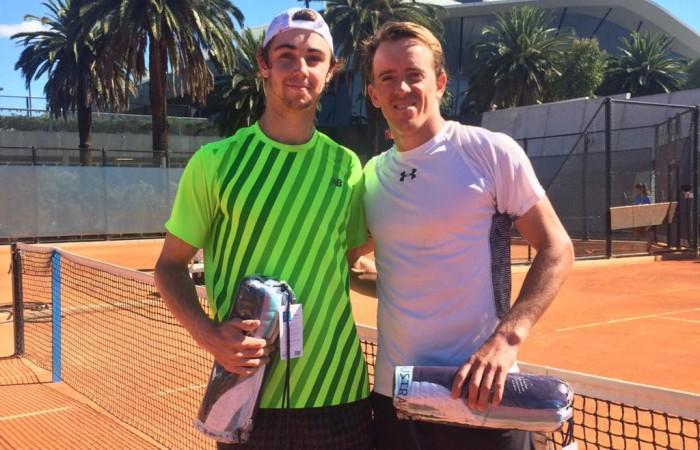 Jordan Thompson (L) poses with Jose (Rubin) Statham after winning the men's Pro Tour title at Melbourne Park