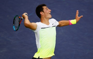 Bernard Tomic in action at the BNP Paribas Open at Indian Wells; Getty Images