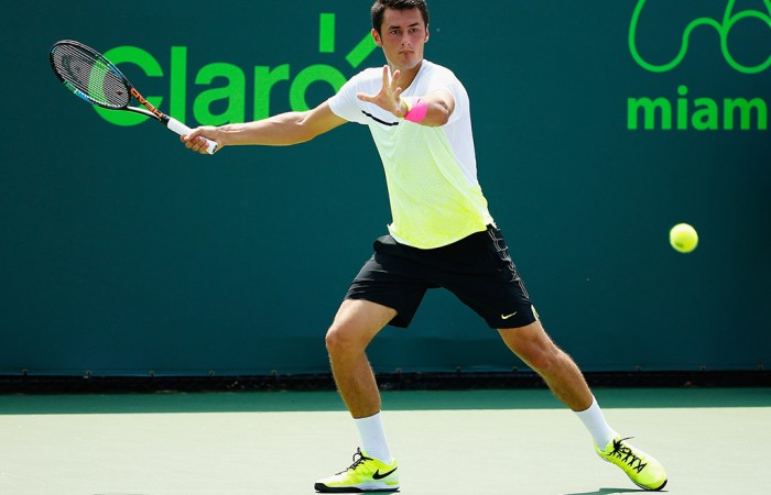 Bernard Tomic in action during his second round victory over Austin Krajicek at the Miami Open; Getty Images