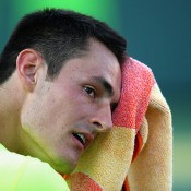 Bernard Tomic in action during his third round loss to Tomas Berdych at the Miami Open; Getty Images