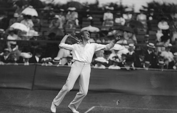 Anthony Wilding of New Zealand in action during the 1908 Wimbledon Championships; Topical Press Agency/Getty Images