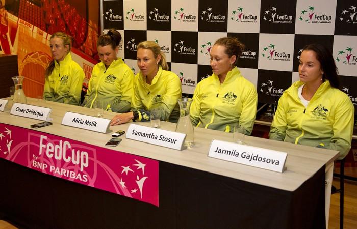 The Australian Fed Cup team of (L-R) Olivia Rogowska, Casey Dellacqua, captain Alicia Molik, Sam Stosur and Jarmila Gajdosova chat to the press; Henk Koster