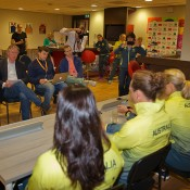 Australia's Fed Cup team chats to the press ahead of their World Group Play-off tie against the Netherlands; Henk Koster