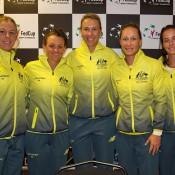The Australian Fed Cup team of (L-R) Olivia Rogowska, Casey Dellacqua, captain Alicia Molik, Sam Stosur and Jarmila Gajdosova; Tennis Australia