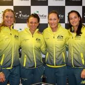 The Australian Fed Cup team of (L-R) Olivia Rogowska, Casey Dellacqua, Sam Stosur and Jarmila Gajdosova; Henk Koster