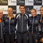 The Dutch Fed Cup team of (L-R) Richel Hogenkamp, Kiki Bertens, captain Paul Haarhuis, Michaella Krajicek and Arantxa Rus; Henk Koster