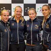 The Dutch Fed Cup team of (L-R) Richel Hogenkamp, Kiki Bertens, Michaella Krajicek and Arantxa Rus; Henk Koster