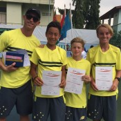 The Australian World Junior Tennis boys' team of (L-R) captain David Moore, Rinky Hijikata, Dane Sweeny and Tristan Schoolkate after winning the Asia/Oceania final qualifying event in Bangkok, Thailand; Tennis Australia