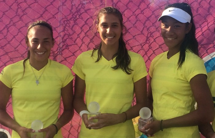 (L-R) Seone Mendez, Jaimee Fourlis and Destanee Aiava at the Junior Fed Cup Asia/Oceania final qualifying event in Shepparton, Victoria; Tennis Australia
