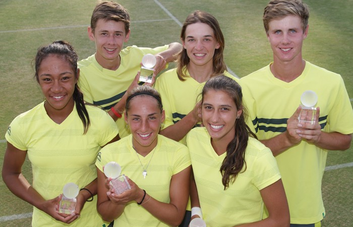 Australia's victorious Junior Davis Cup and Fed Cup teams of (back row L-R) Alex De Minaur, Matthew Romios and Blake Ellis and (front row L-R) Destanee Aiava, Seone Mendez and Jaimee Fourlis at the Shepparton Lawn Tennis Club; Trevor Phillips