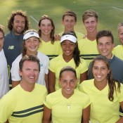 Australia's victorious Junior Davis Cup and Fed Cup teams plus coaching staff celebrate Australia's first placings in the Asia/Oceania final qualifying competition at the Shepparton Lawn Tennis Club; Trevor Phillips