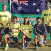 Australia's victorious Junior Davis Cup team of (L-R) captain Ben Pyne, Alex De Minaur, Matthew Romios, Lucas Vuradin and Blake Ellis at the Shepparton Lawn Tennis Club; Trevor Phillips