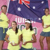 Australia's victorious Junior Fed Cup team of (L-R) captain Rohan Fisher, Jaimee Fourlis, Destanee Aiava and Seone Mendez at the Shepparton Lawn Tennis Club; Trevor Phillips