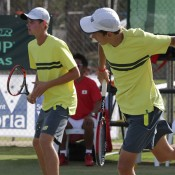 Alex De Minaur (R) and Blake Ellis in action on the final day of the Junior Davis Cup Asia/Oceania final qualifying event at Shepparton Lawn Tennis Club; Trevor Phillips