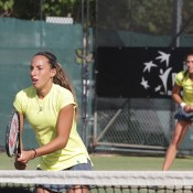 Seone Mendez (L) and Jaimee Fourlis in action on the final day of the Junior Fed Cup Asia/Oceania final qualifying event at Shepparton Lawn Tennis Club; Trevor Phillips