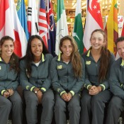 Australia's Junior Fed Cup team of (L-R) Jaimee Fourlis, Destanee Aiava, Seone Mendez, Petra Hule and captain Rohan Fisher; Trevor Phillips