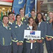 The Australian Junior Davis Cup and Junior Fed Cup teams at the official draw ceremony of the Junior Davis and Fed Cup Asia-Oceania qualifying event in Shepparton; Trevor Phillips