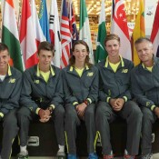 Australia's Junior Davis Cup team of (L-R) Lucas Vuradin, Alex De Minaur, Matthew Romios, Blake Ellis and captain Ben Pyne; Trevor Phillips