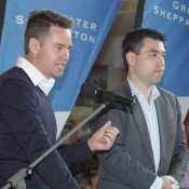 Todd Woodbridge and Francis Soyer address athletes at the official draw ceremony of the Junior Davis and Fed Cup Asia-Oceania qualifying event in Shepparton; Trevor Phillips