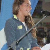 Seone Mendez addresses athletes at the official draw ceremony of the Junior Davis and Fed Cup Asia-Oceania qualifying event in Shepparton; Trevor Phillips