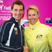 Australian captain Alicia Molik (R) and Dutch captain Paul Haarhuis at the official draw ceremony for the Australia v Netherlands 2015 Fed Cup World Group Play-off tie in 's-Hertogenbosch; Kenk Koster