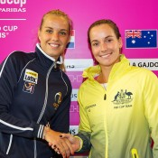 Jarmila Gajdosova (R) and Arantxa Rus at the official draw ceremony for the Australia v Netherlands 2015 Fed Cup World Group Play-off tie in 's-Hertogenbosch; Kenk Koster